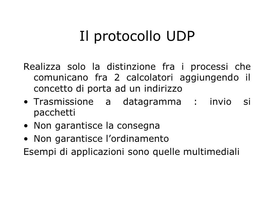 Il protocollo UDP Realizza solo la distinzione fra i processi che comunicano fra 2 calcolatori aggiungendo il concetto di porta ad un indirizzo.