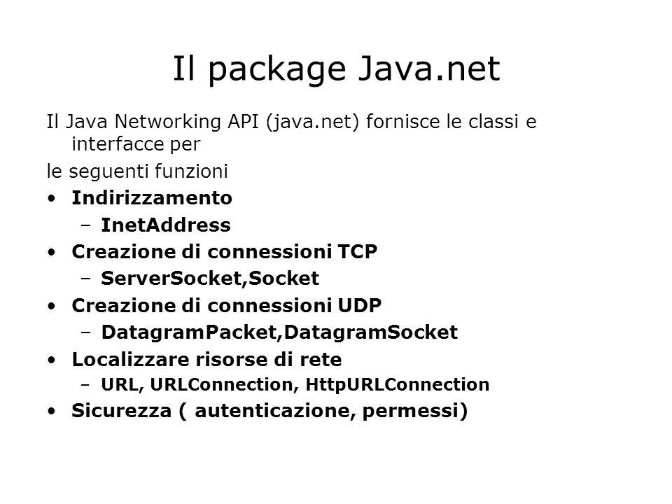 Il package Java.net Il Java Networking API (java.net) fornisce le classi e interfacce per. le seguenti funzioni.