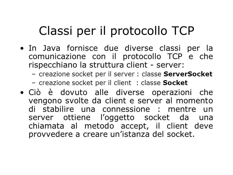 Classi per il protocollo TCP