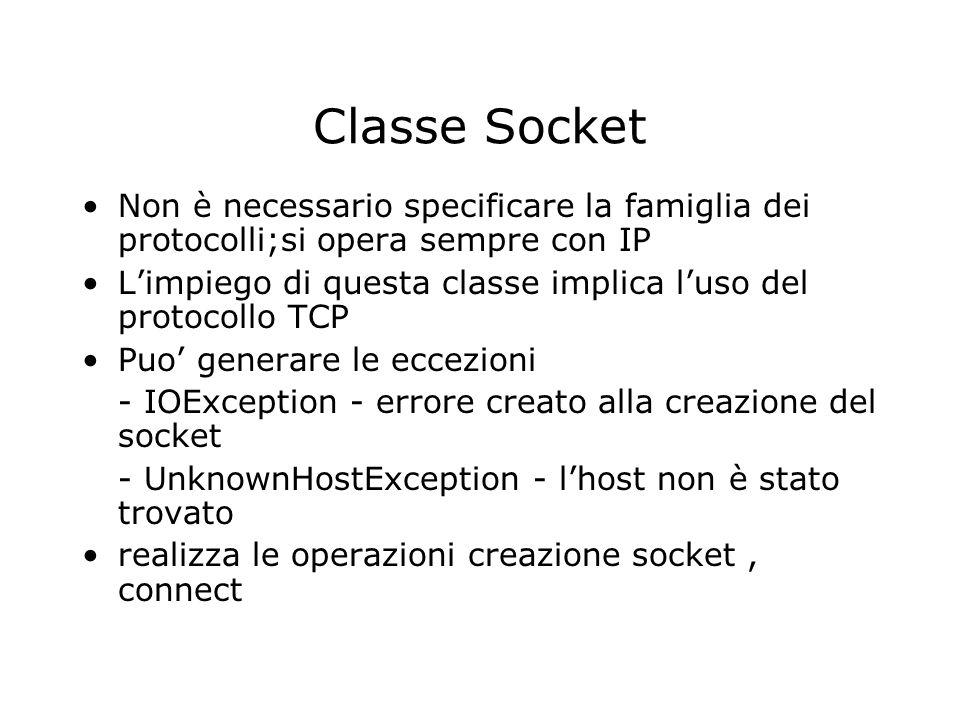 Classe Socket Non è necessario specificare la famiglia dei protocolli;si opera sempre con IP.