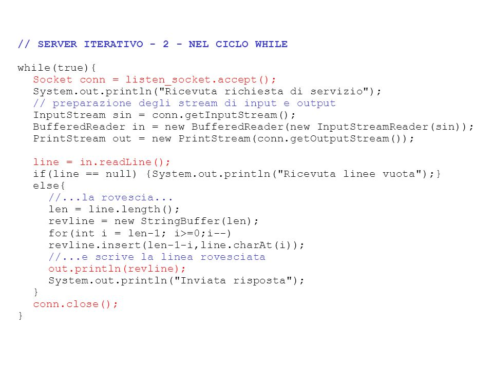// SERVER ITERATIVO NEL CICLO WHILE