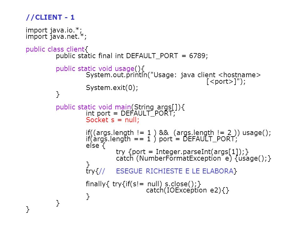 //CLIENT - 1 import java. io. ; import java. net