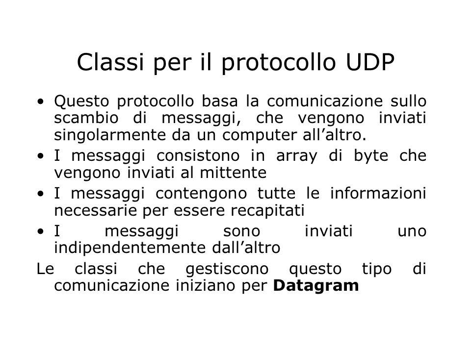 Classi per il protocollo UDP