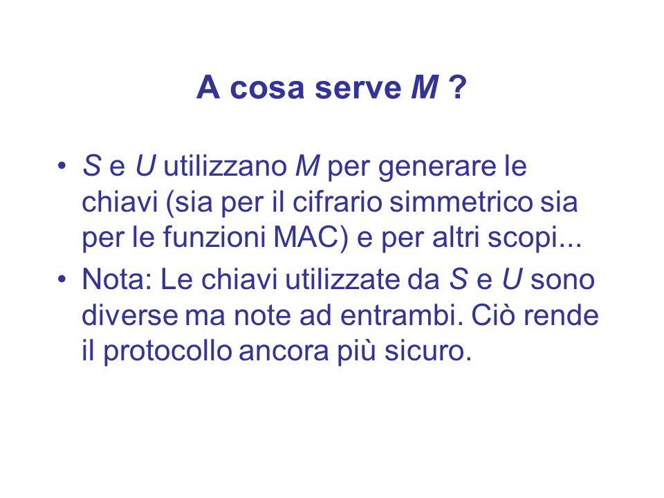 A cosa serve M S e U utilizzano M per generare le chiavi (sia per il cifrario simmetrico sia per le funzioni MAC) e per altri scopi...