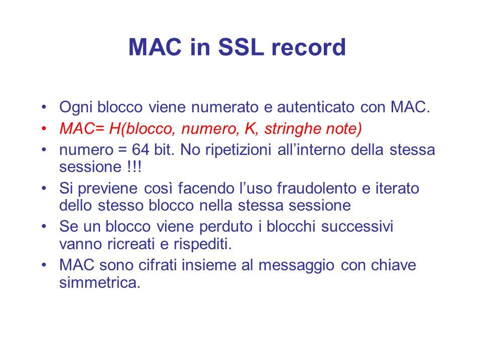 MAC in SSL record Ogni blocco viene numerato e autenticato con MAC.