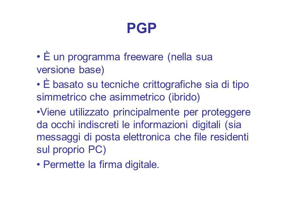 PGP È un programma freeware (nella sua versione base)