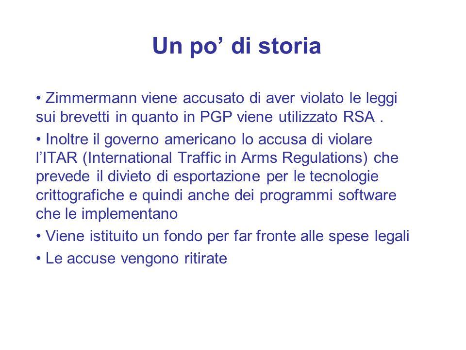 Un po' di storia Zimmermann viene accusato di aver violato le leggi sui brevetti in quanto in PGP viene utilizzato RSA .