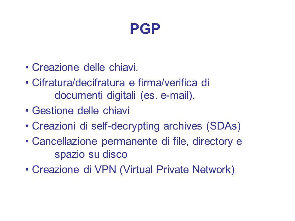 PGP • Creazione delle chiavi.