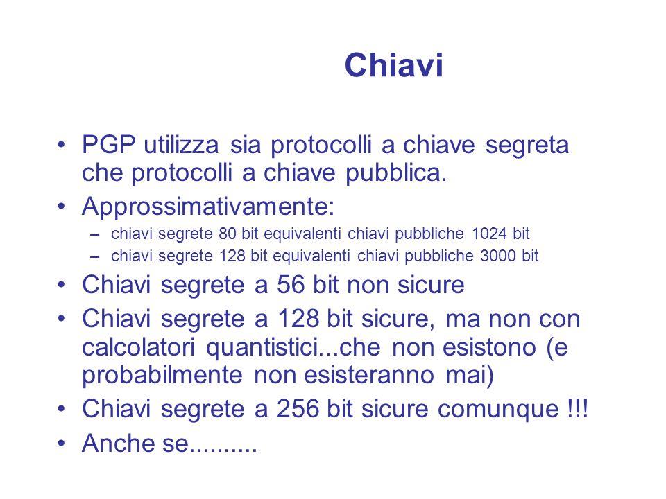 Chiavi PGP utilizza sia protocolli a chiave segreta che protocolli a chiave pubblica. Approssimativamente:
