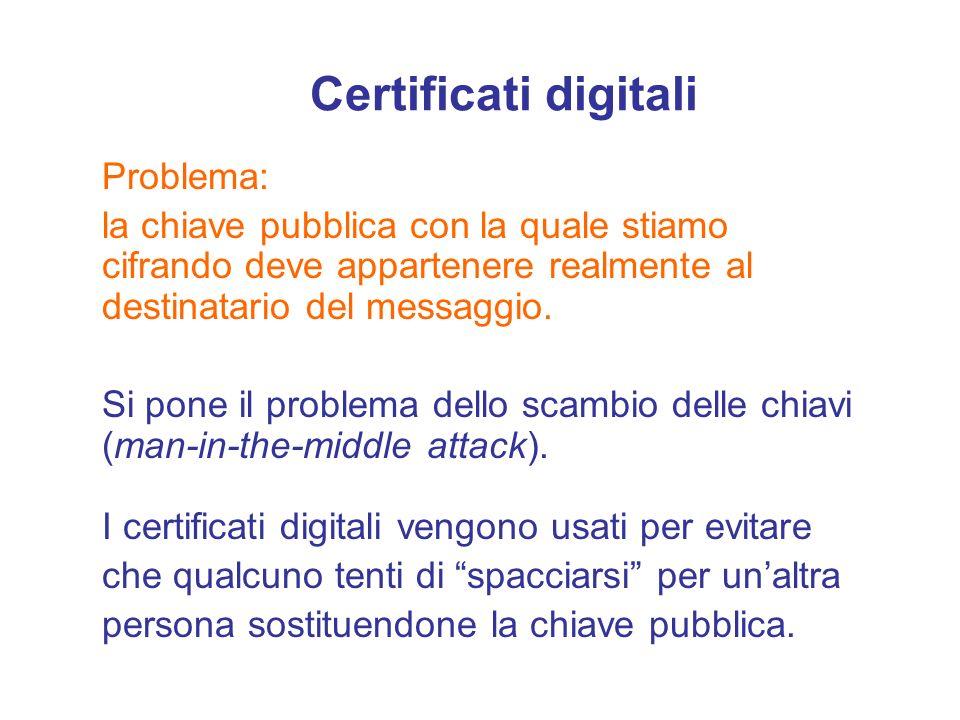 Certificati digitali Problema: