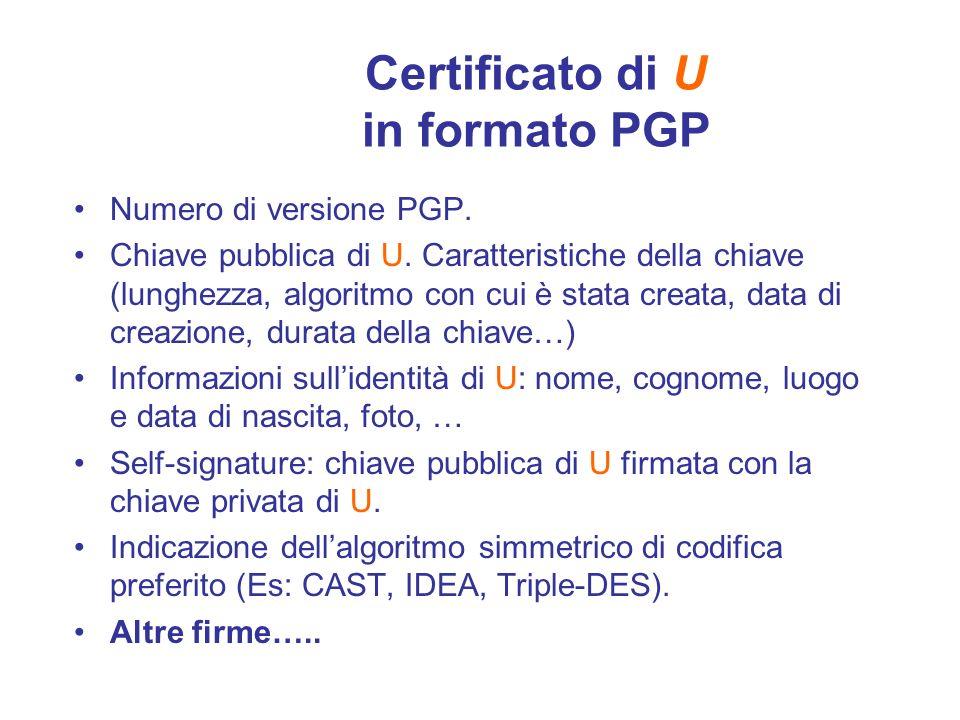 Certificato di U in formato PGP