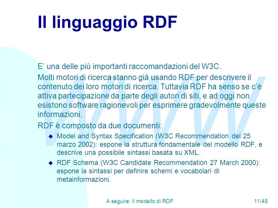 A seguire: Il modello di RDF 11/45