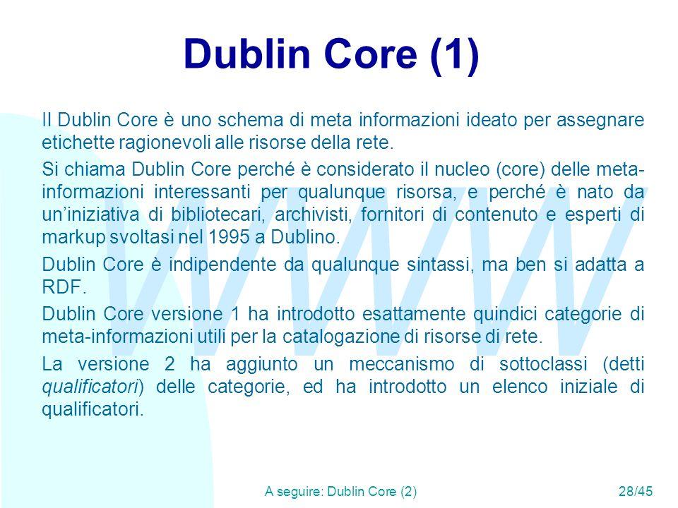 A seguire: Dublin Core (2) 28/45