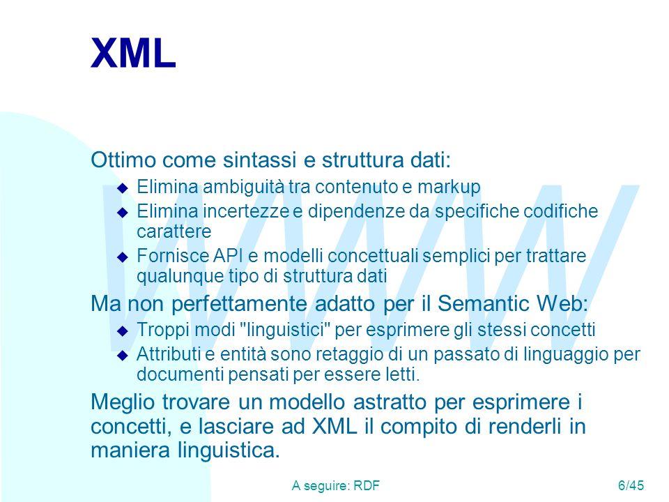 XML Ottimo come sintassi e struttura dati:
