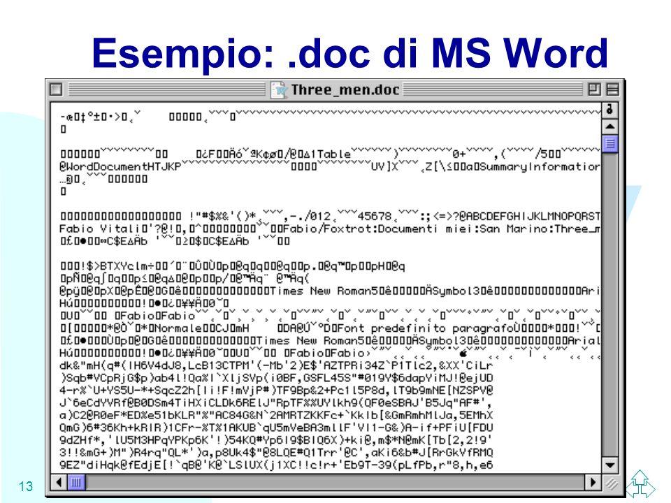 Esempio: .doc di MS Word