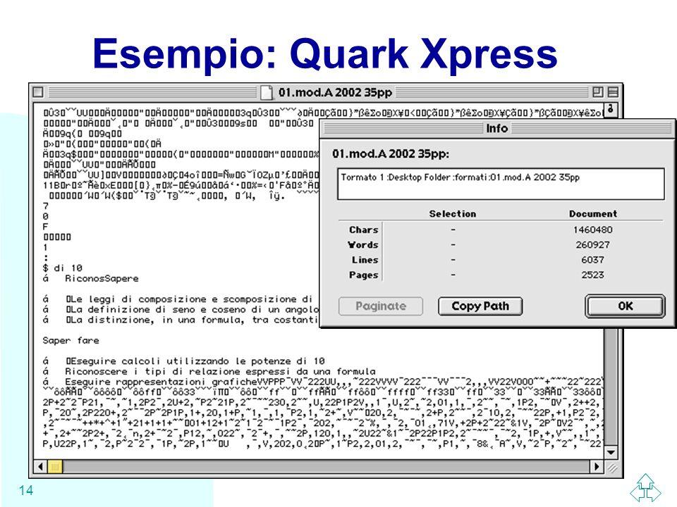 Esempio: Quark Xpress