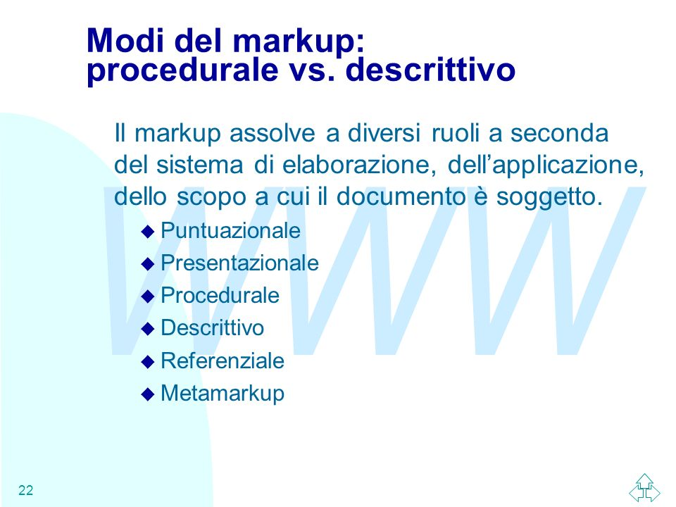 Modi del markup: procedurale vs. descrittivo