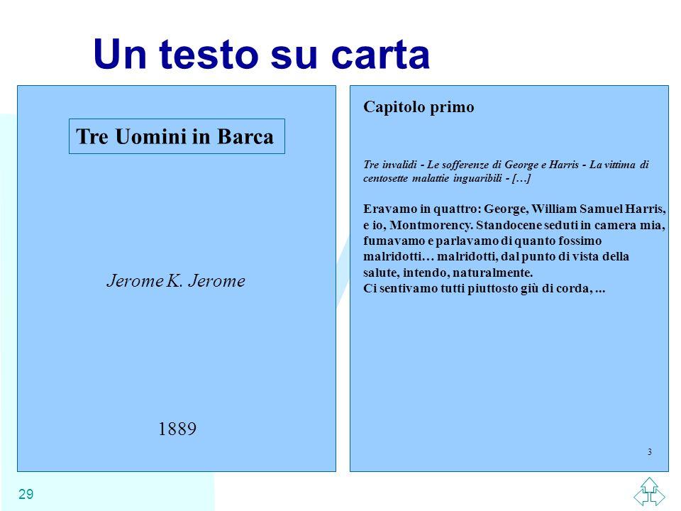 Un testo su carta Tre Uomini in Barca Jerome K. Jerome 1889