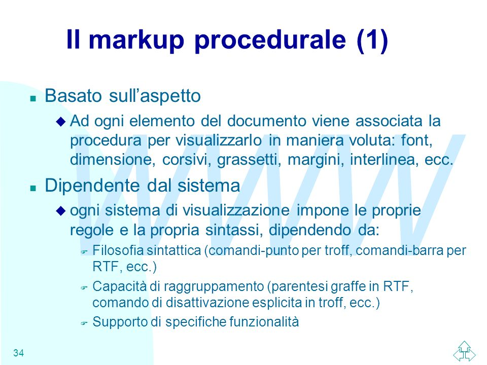 Il markup procedurale (1)