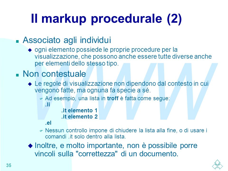 Il markup procedurale (2)