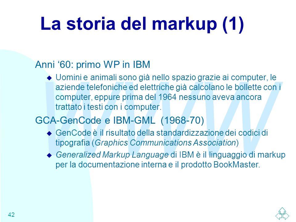 La storia del markup (1) Anni '60: primo WP in IBM