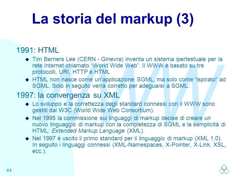 La storia del markup (3) 1991: HTML 1997: la convergenza su XML