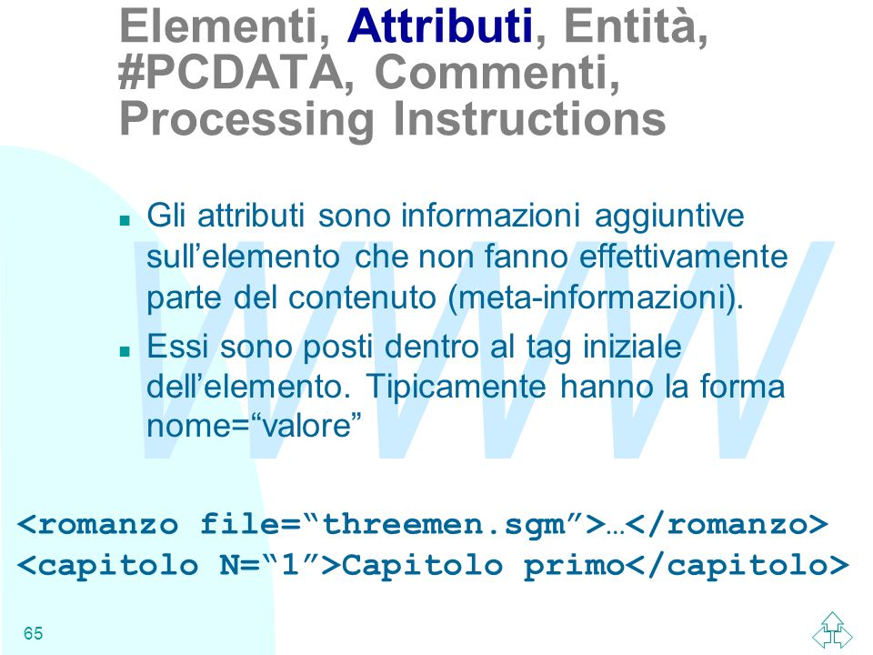 Elementi, Attributi, Entità, #PCDATA, Commenti, Processing Instructions