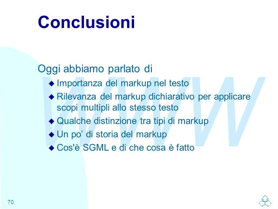 Conclusioni Oggi abbiamo parlato di Importanza del markup nel testo