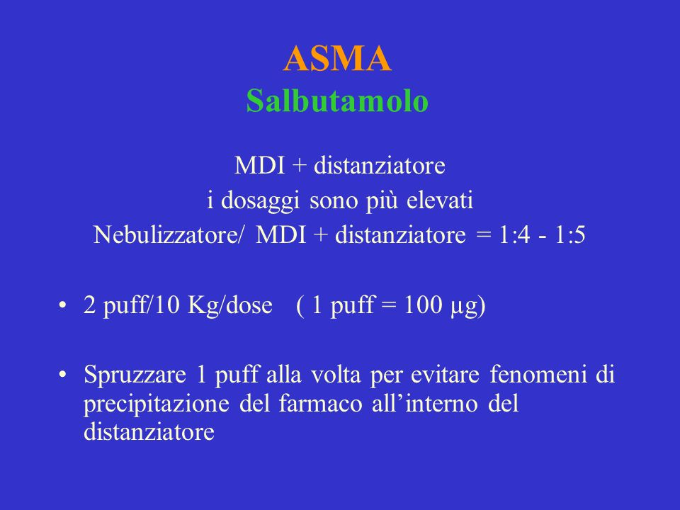 ASMA Salbutamolo MDI + distanziatore i dosaggi sono più elevati