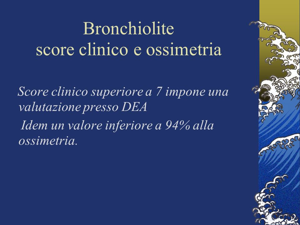 Bronchiolite score clinico e ossimetria