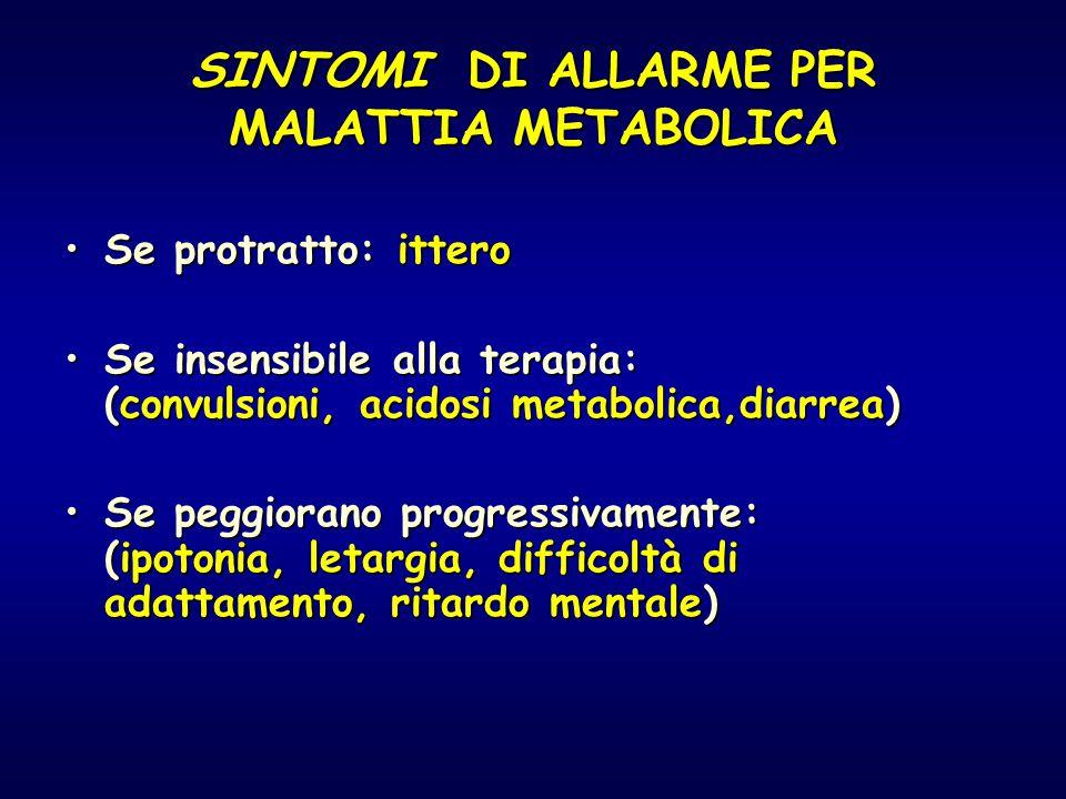 SINTOMI DI ALLARME PER MALATTIA METABOLICA