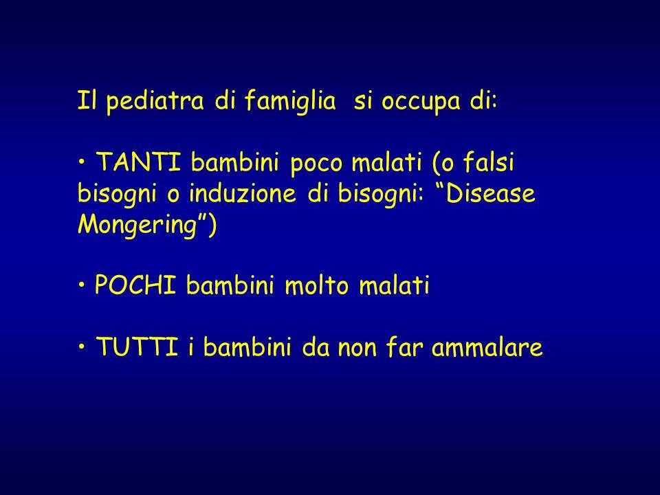 Il pediatra di famiglia si occupa di: