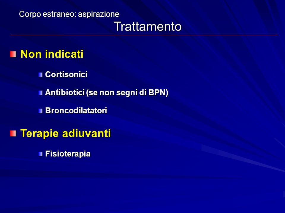 Non indicati Terapie adiuvanti Corpo estraneo: aspirazione Trattamento