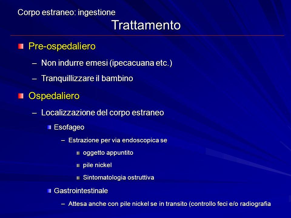 Pre-ospedaliero Ospedaliero Corpo estraneo: ingestione Trattamento