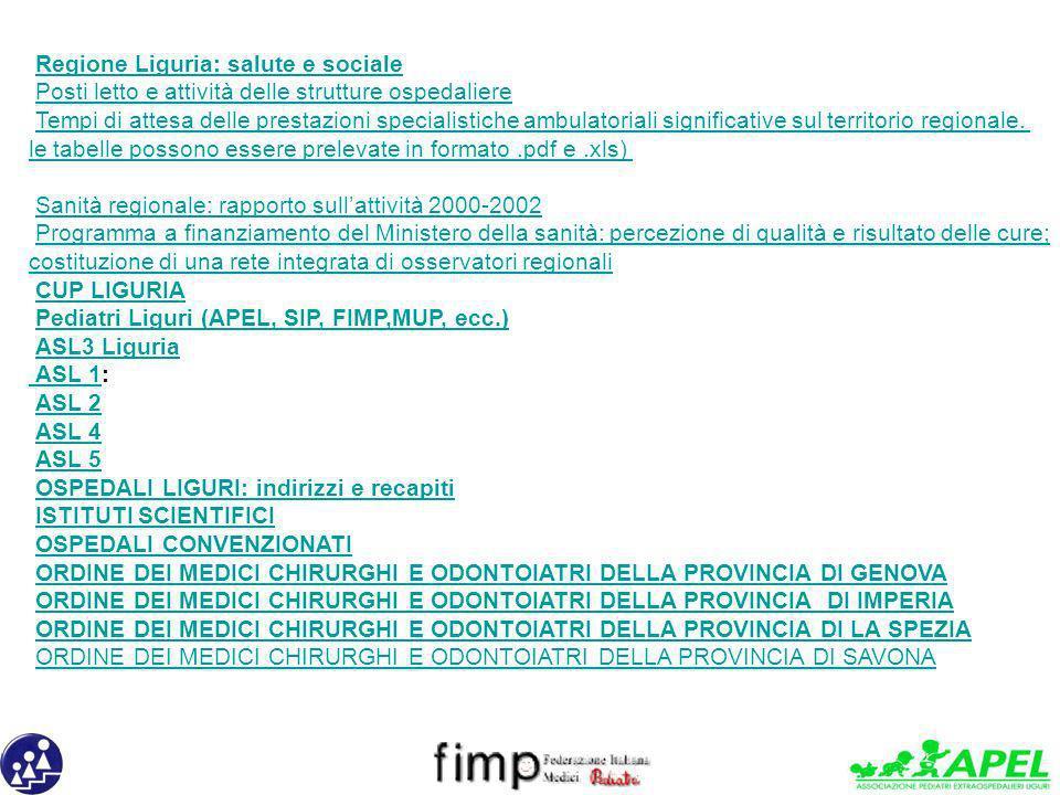 Regione Liguria: salute e sociale