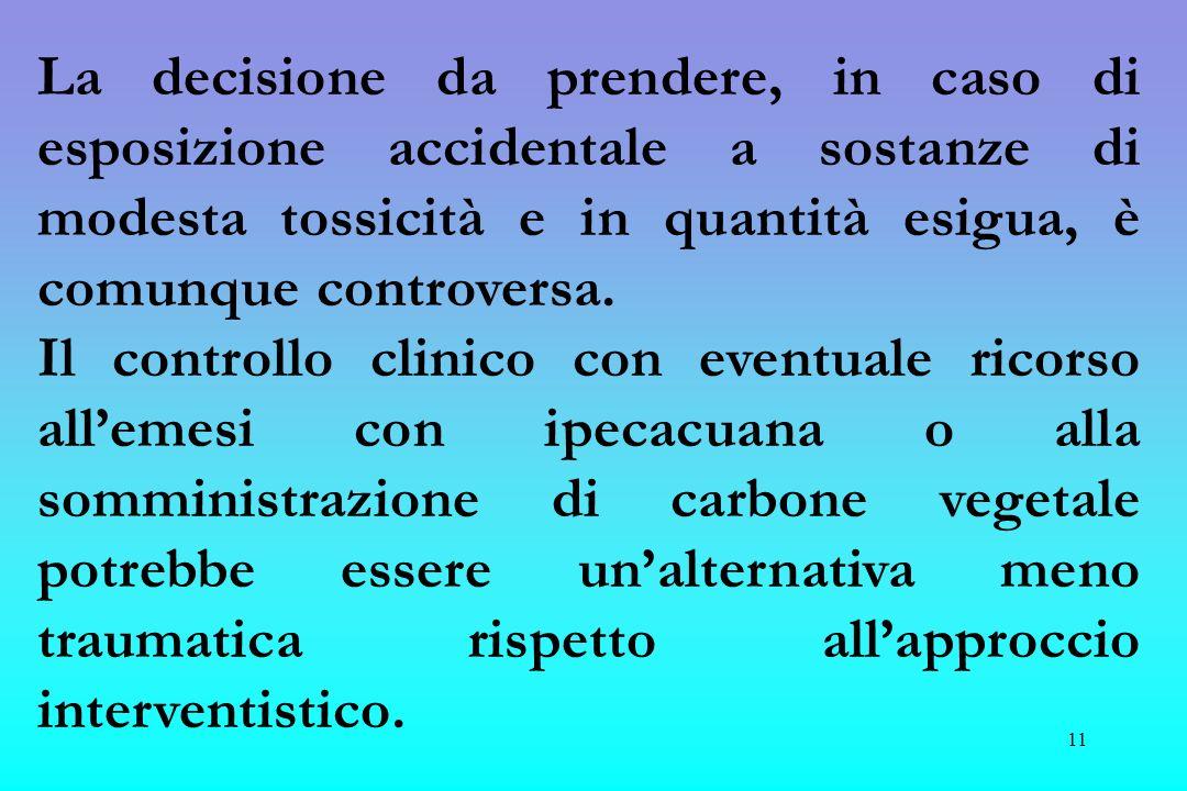 La decisione da prendere, in caso di esposizione accidentale a sostanze di modesta tossicità e in quantità esigua, è comunque controversa.