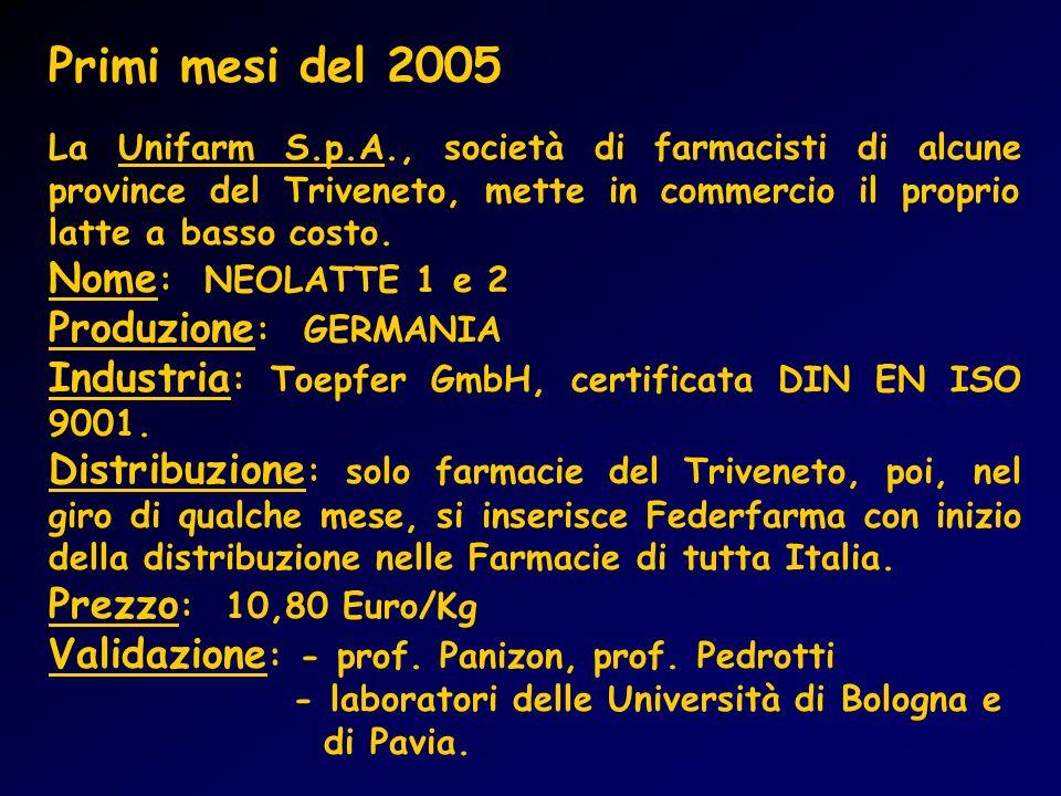 Primi mesi del 2005 Nome: NEOLATTE 1 e 2 Produzione: GERMANIA