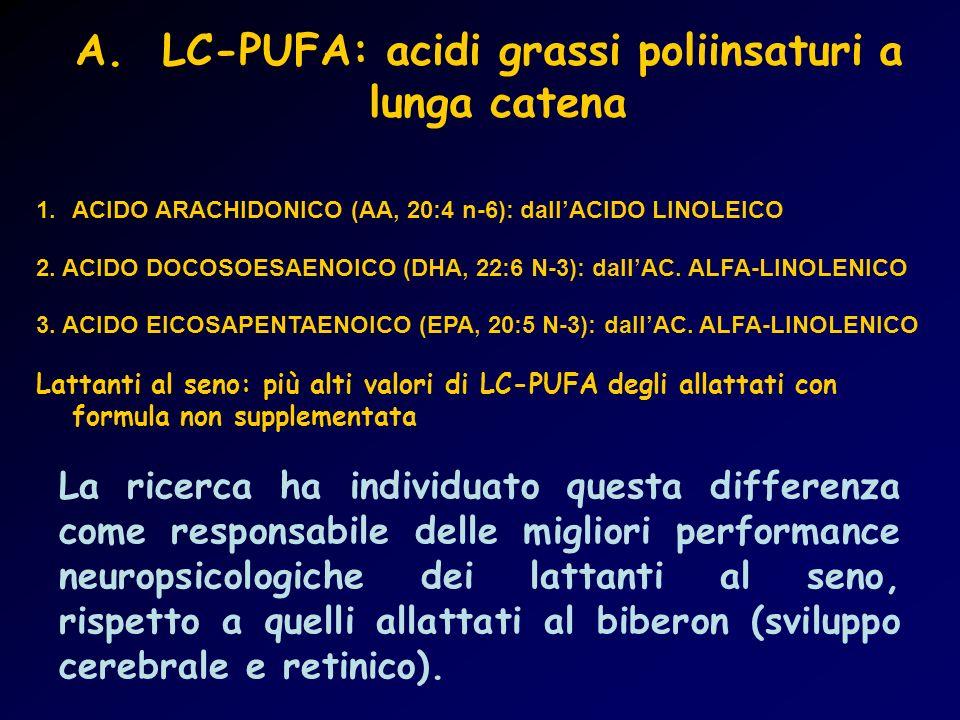 A. LC-PUFA: acidi grassi poliinsaturi a lunga catena