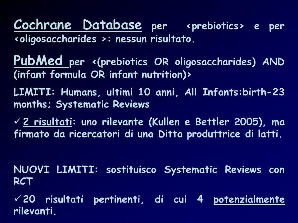 Cochrane Database per <prebiotics> e per <oligosaccharides >: nessun risultato.