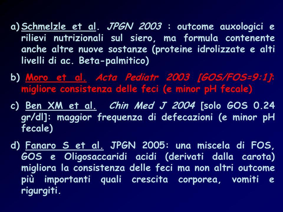Schmelzle et al. JPGN 2003 : outcome auxologici e rilievi nutrizionali sul siero, ma formula contenente anche altre nuove sostanze (proteine idrolizzate e alti livelli di ac. Beta-palmitico)