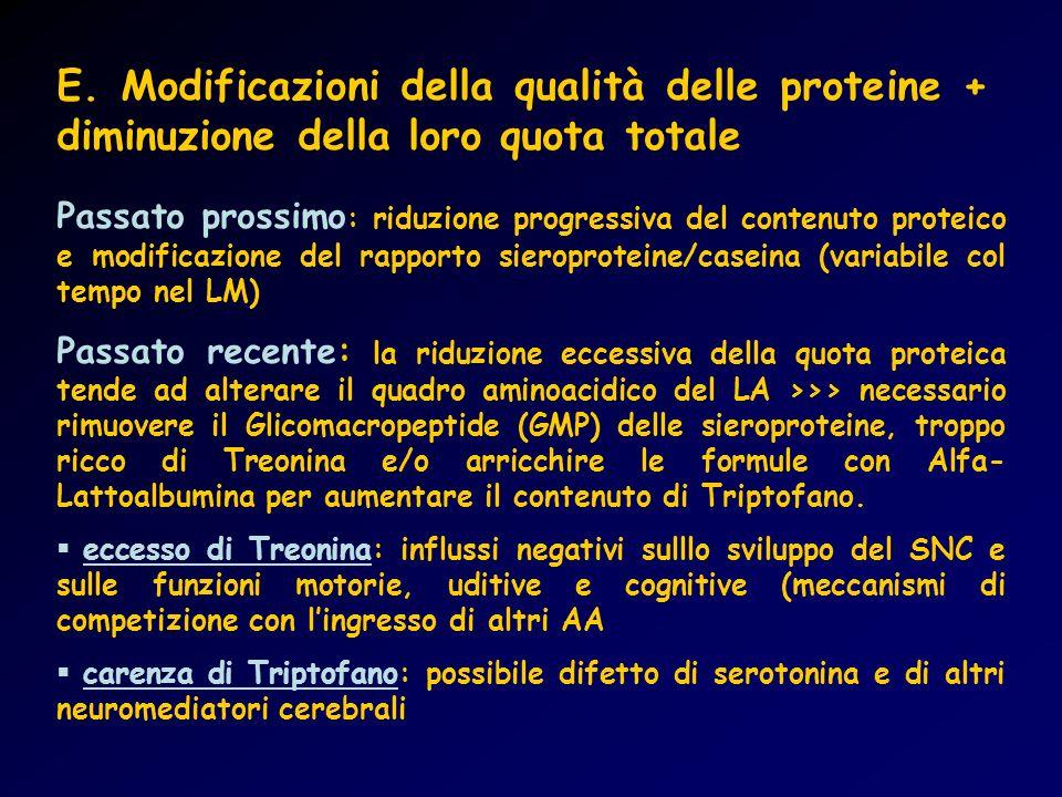 E. Modificazioni della qualità delle proteine + diminuzione della loro quota totale