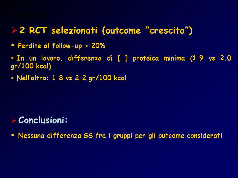 2 RCT selezionati (outcome crescita )