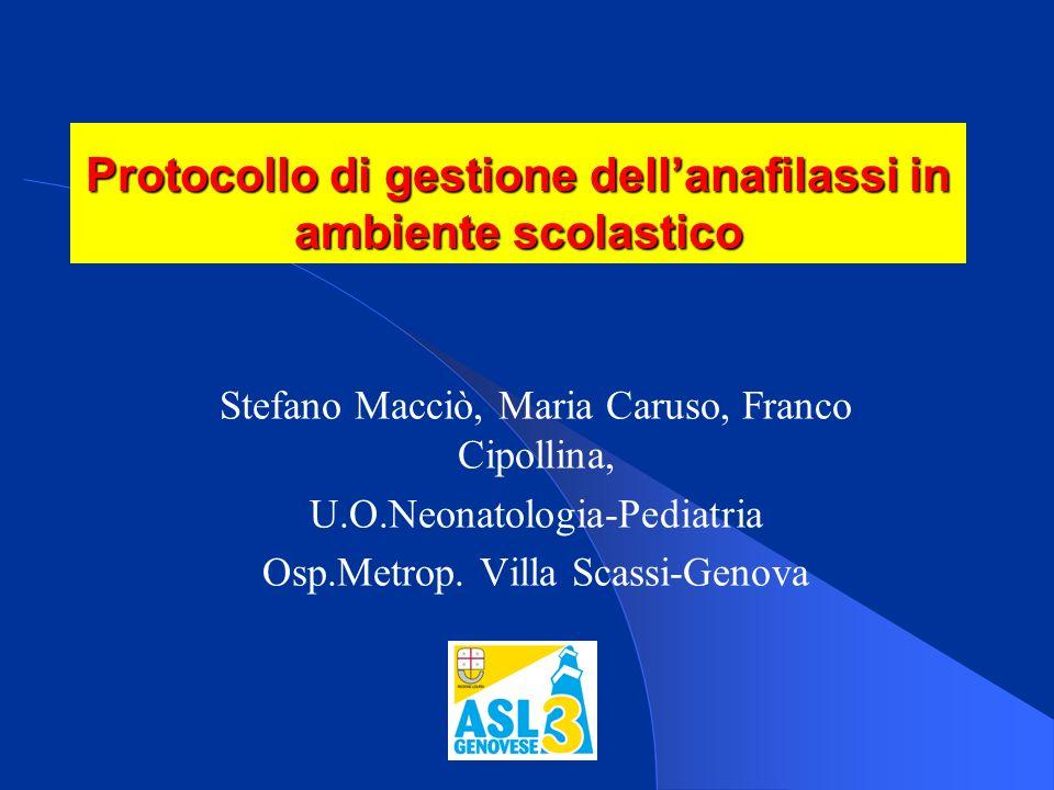 Protocollo di gestione dell'anafilassi in ambiente scolastico