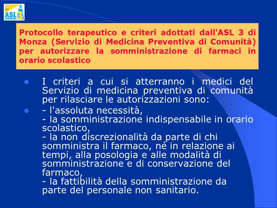 Protocollo terapeutico e criteri adottati dall ASL 3 di Monza (Servizio di Medicina Preventiva di Comunità) per autorizzare la somministrazione di farmaci in orario scolastico