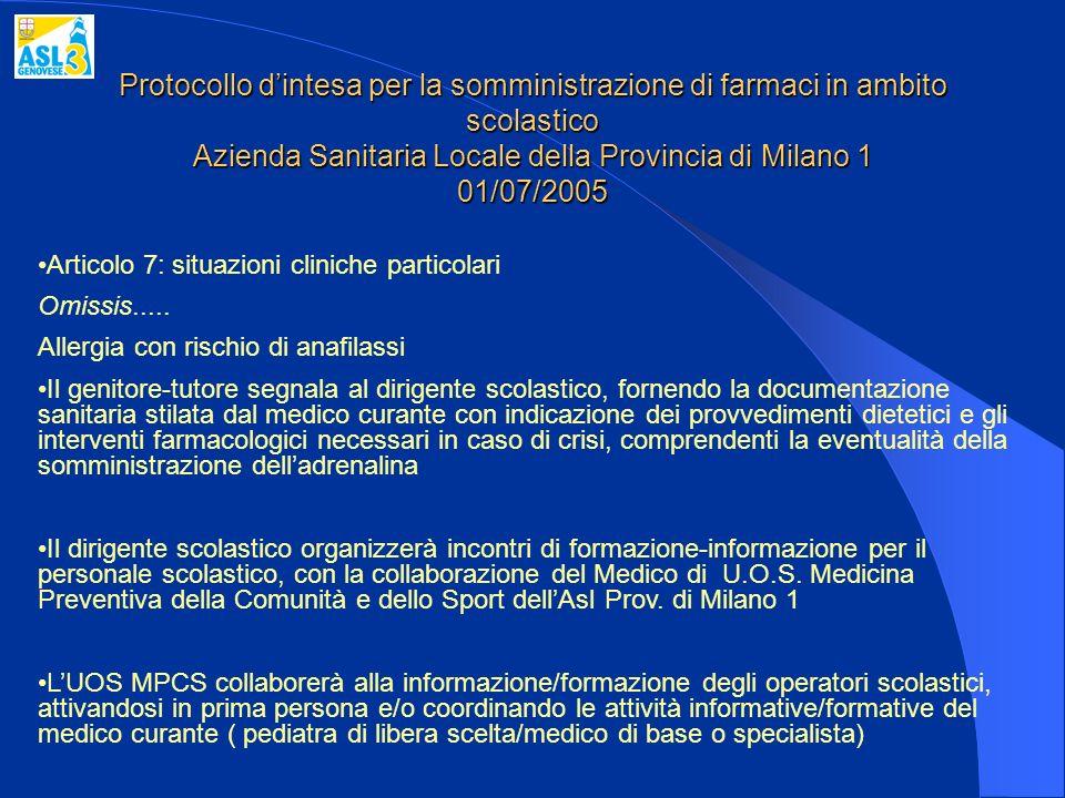 Protocollo d'intesa per la somministrazione di farmaci in ambito scolastico Azienda Sanitaria Locale della Provincia di Milano 1 01/07/2005