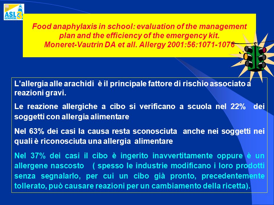 Food anaphylaxis in school: evaluation of the management plan and the efficiency of the emergency kit. Moneret-Vautrin DA et all. Allergy 2001:56:1071-1076