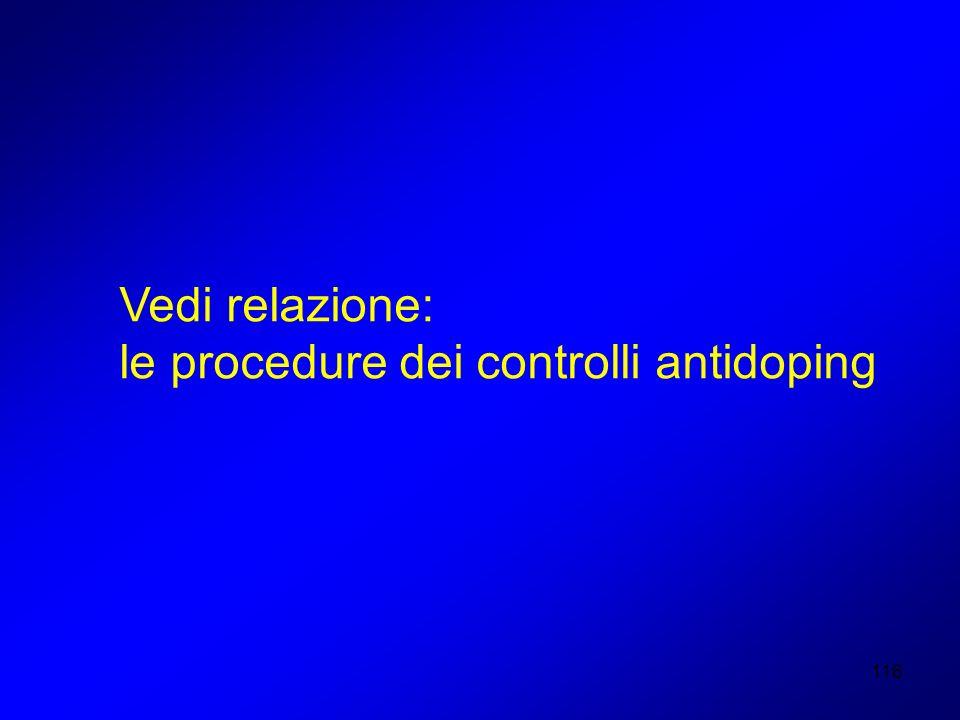 Vedi relazione: le procedure dei controlli antidoping