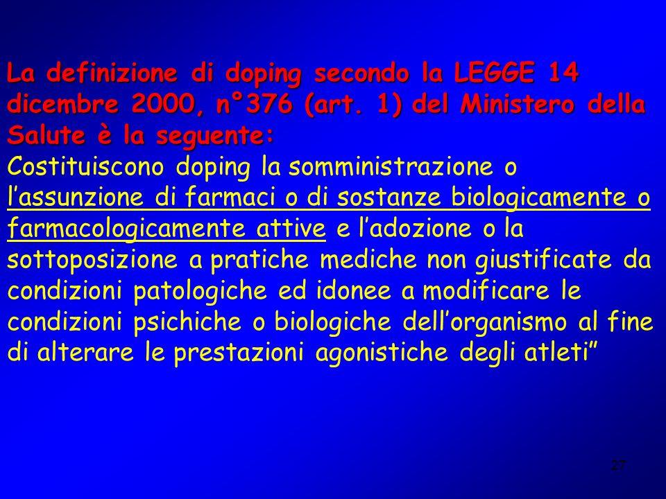 La definizione di doping secondo la LEGGE 14 dicembre 2000, n°376 (art