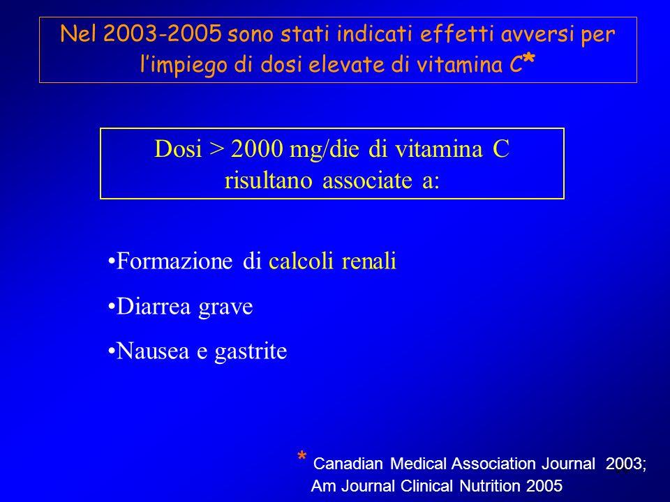 Dosi > 2000 mg/die di vitamina C risultano associate a: