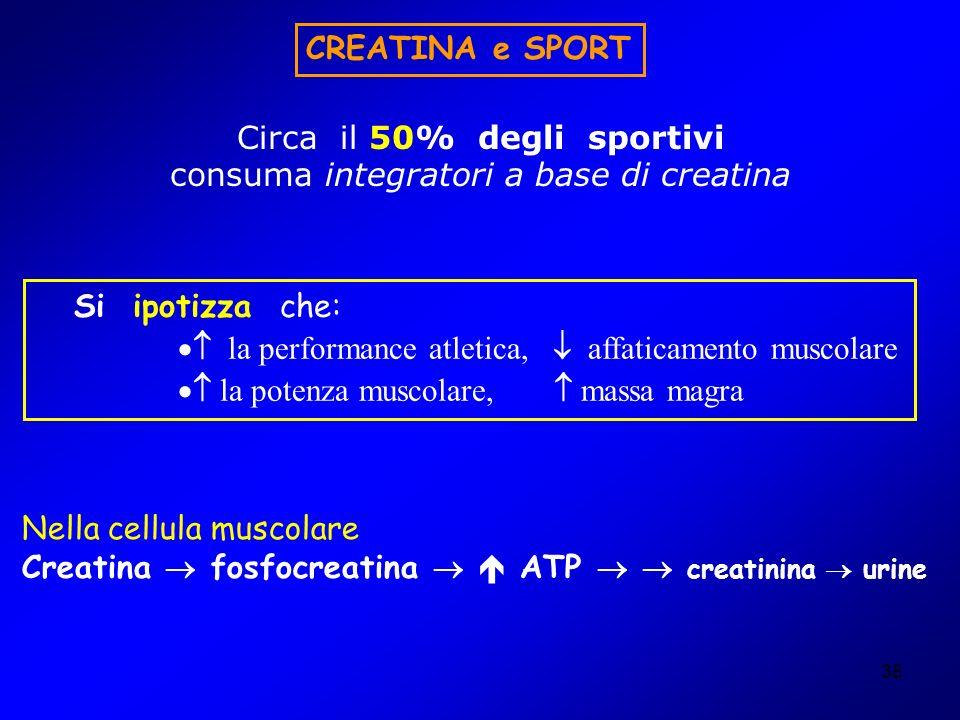 Circa il 50% degli sportivi consuma integratori a base di creatina
